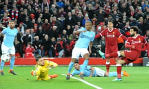 Ederson and his Manchester City defenders are helpless to stop Mohamed Salah scoring for Liverpool