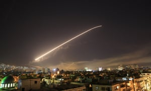 Missile trail over Damascus