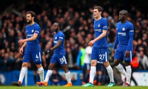 Chelsea players Cesc Fàbregas, Victor Moses, Andreas Christensen and N'Golo Kanté during the 3-1 home defeat to Tottenham.