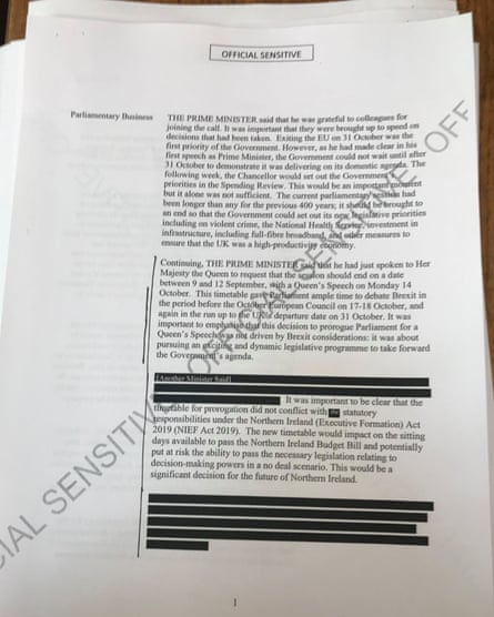 One of the redacted pages from documents about the planned prorogation of parliament