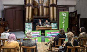 Green Party members and supporters listen as party co-leader Jonathan Bartley and LGBTIQA+ spokesperson Aimee Challenor set out the party's commitment to champion LGBTIQA+ rights