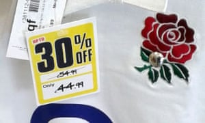 Sports Direct pricing of an England rugby top.