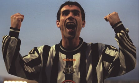 Keith Gillespie celebrating a goal for Newcastle against Barnsley in 1997
