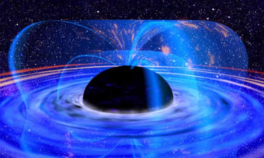 Graphic showing a satellite observing a supermassive black hole in the core of a galaxy