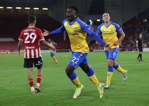 Southampton's Mohammed Salisu celebrates scoring their second goal.