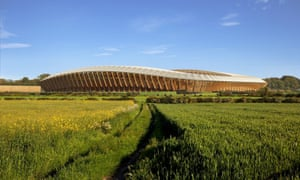 A computer-generated image of the new stadium for English League Two club Forest Green Rovers, designed by Zaha Hadid Architects and to be made entirely out of wood.
