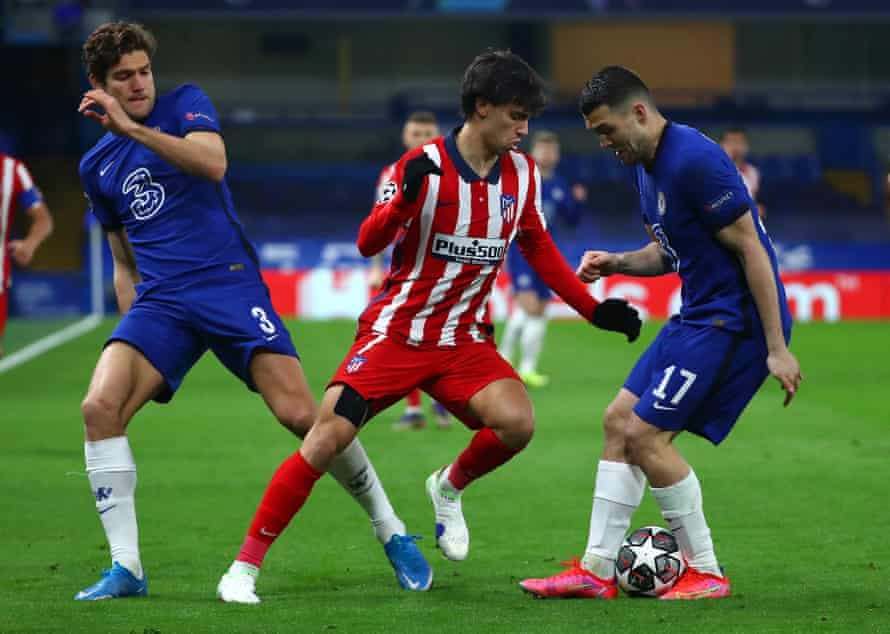 João Félix finds his way blocked on a frustrating night for him at Stamford Bridge.