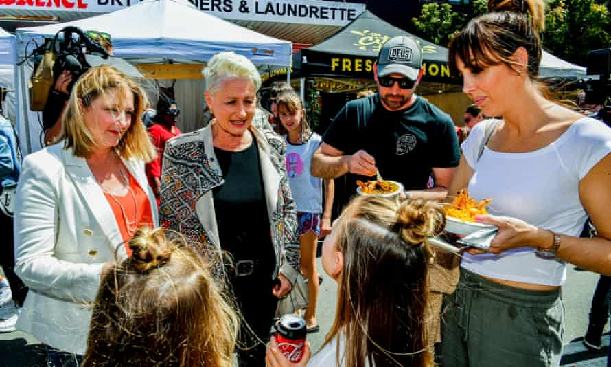 Dr Kerryn Phelps (centre) is seen with Centre Alliance MP Rebekha Sharkie (left) in Sydney on Sunday.