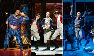 Trevor Dion Nicholas as Genie in Aladdin, Lin-Manuel Miranda in Hamilton and Everybody's Talking About Jamie starring John McCrea