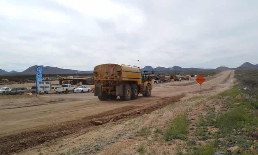 A staging area for border wall construction at the San Bernardino Valley, Arizona, where work is going ahead amid the pandemic.