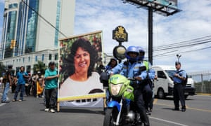Activists protest against the murder of indigenous environmentalist Berta Cáceres in Tegucigalpa. Honduras, on 18 May.
