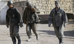 Miners at a coal mine of the state-owned Longmay Group on the outskirts of Jixi, China.