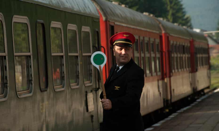 Guard on the Septemvri-Dobrinishte railway, Bulgaria.