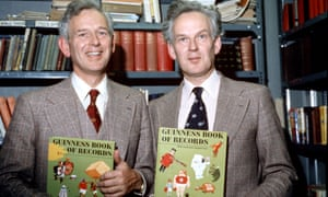 Norris McWhirter (left) with his twin brother and Guinness Book of Records co-founder Ross in 1974. Photograph: David Graves/Rex/Shutterstock