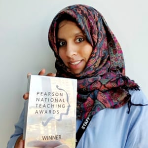 Misk Sharif Ali with her Pearson award