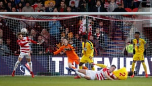 Doncaster Rovers' Alfie May misses a chance to score