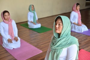 Fakhria Momtaz at Momtaz Yoga Centre in Kabul