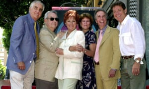 Some members of the Happy Days crew in 2001. From left: Garry Marshall, Tom Bosley, Marion Ross, Erin Moran, Henry Winkler and Anson Williams.