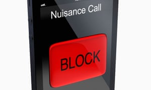 iPhone-style smartphone handset with screen display reading 'Nuisance Caller' and a large red button saying BLOCK<br>DR7WW0 iPhone-style smartphone handset with screen display reading 'Nuisance Caller' and a large red button saying BLOCK