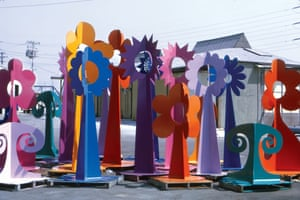 Fantasy Flowers outdoor sculpture abstract colour flower shapes.