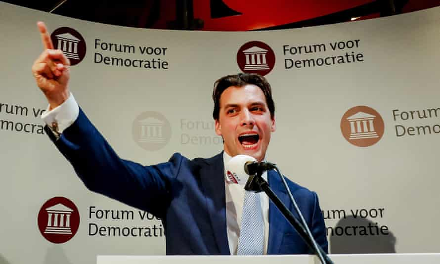 Forum for Democracy (FvD) party leader, Thierry Baudet, on election night.