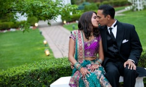 Indian couple kissing in public
