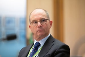 The CMO Prof Paul Kelly appears before the Senate select committee on Covid-19 at Parliament House, Canberra this afternoon.