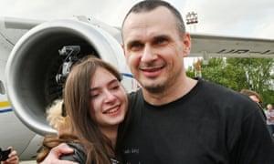 Oleg Sentsov hugs daughter
