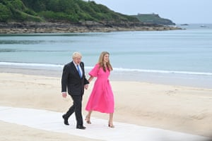 Boris and Carrie Johnson arrive for the leaders' official welcome and family photo during the G7 summit in Carbis Bay, Cornwall