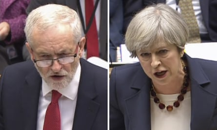 British Prime Minister Theresa May and main opposition Labour Party leader Jeremy Corbyn during the weekly Prime Ministers Questions session in the House of Commons in London on 26 April 2017.