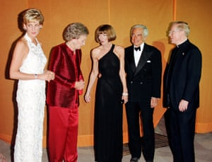 Alongside Diana, Princess of Wales, and Ralph Lauren (second from right) at a gala at the White House in September 1996.
