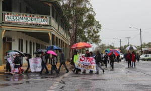 Brewarrina residents march against domestic violence and illegal drugs on 30 April after the death of 18-year-old Miss Hart.