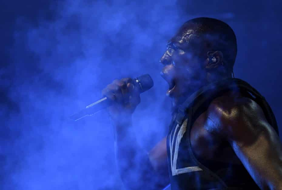 Stormzy performing on the Pyramid stage.