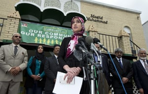 Rabiah Ahmed of the Muslim Public Affairs Council speaks as US muslim leaders honour the legacy of Muhammad Ali during a news conference at Masjid Muhammad, The Nation's Mosque, in Washington