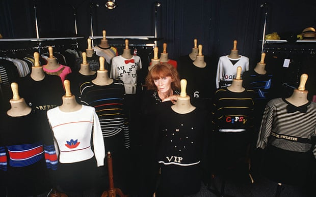 Sonia Rykiel with her knitwear collection in 1988.