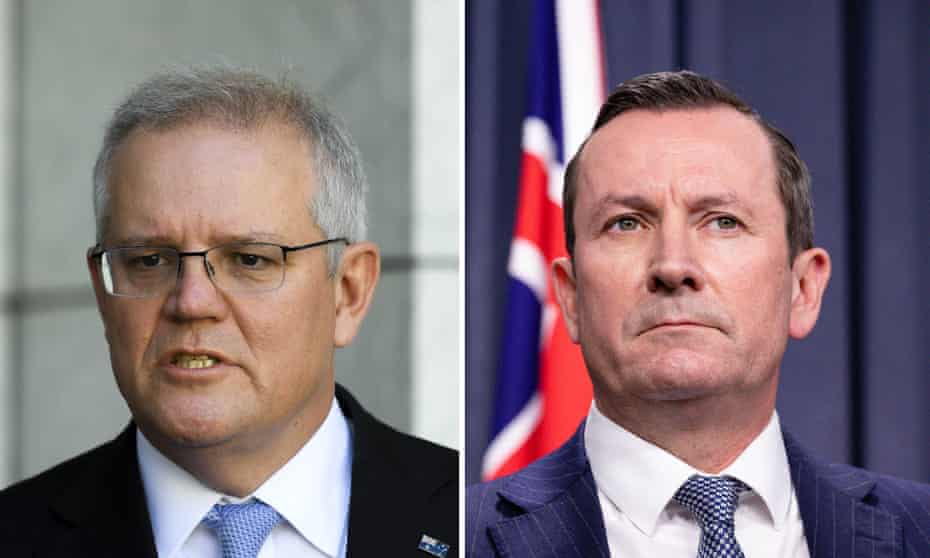 Prime minister Scott Morrison (left) has lashed out at the plan by the Western Australia premier, Mark McGowan, to continue to pursue zero Covid even once vaccination rates reached as high as 80%.