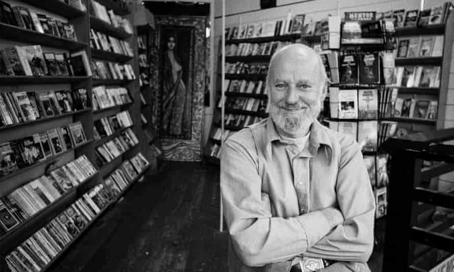 Lawrence Ferlinghetti the in City Lights Bookstore, San Francisco, 1977.