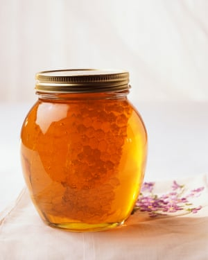 Jar of Honey and honeycomb
