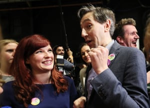 The health minister Simon Harris celebrates on arrival at the count centre in Dublin as votes are counted