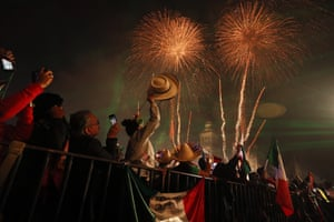 Fireworks explode over the Metropolitan Cathedral in Mexico City on Independence Day, 15 September