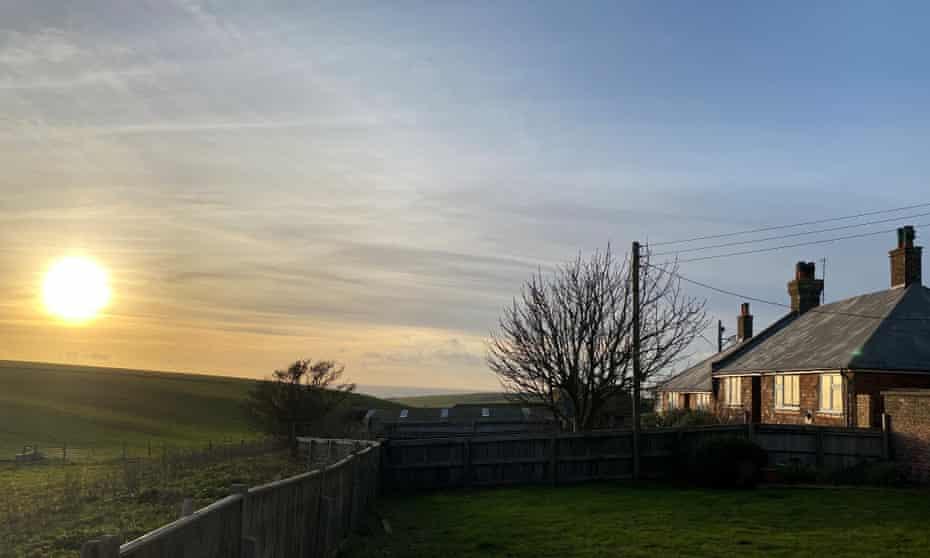 Black Robin Farm back garden sunset