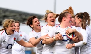 England celebrate after Sarah Bern scores her side's fourth try in the 55-0 defeat of Italy last weekend.
