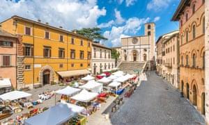 'We spent the week gorging on pecorino, olives and aubergines': market day at Todi.