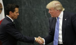 At a press conference with Donald Trump, President Enrique Peña Nieto said: 'Every year, thousands of weapons and millions of US dollars in cash enter illegally into Mexico from the north.'