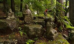 Buddhist sculptures in the Hakone hills.