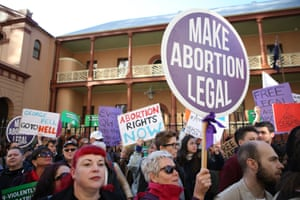 Protesters outside NSW parliament rally in favour of legalising abortion.