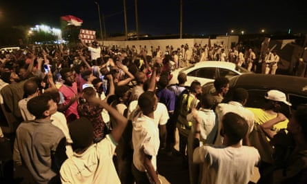 Protests near the site of Sudan's military headquarters in central Khartoum.