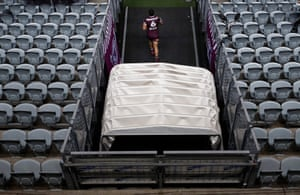 Dylan Walker of the Sea Eagles runs out onto the field during the round three NRL match between the Manly Sea Eagles and the Canterbury Bulldogs at Central Coast Stadium on May 31, 2020 in Gosford, Australia.
