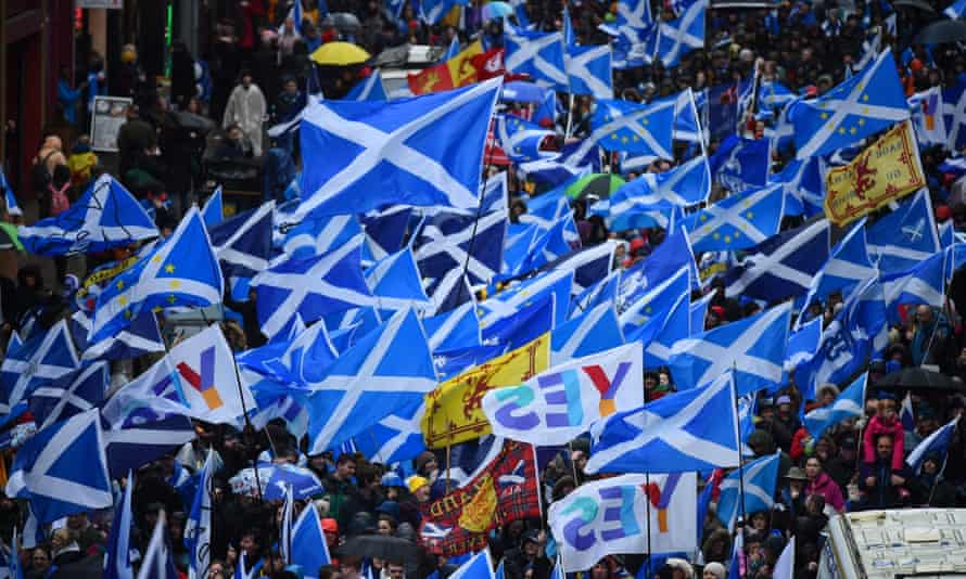 A demonstration calling for Scottish independence in Glasgow on 31 January 2020.