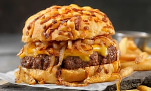 A burger with 'fairground onions'